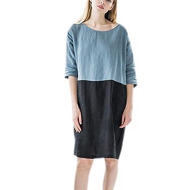 1150e312346f1 Huateng Women Solid Color Splice Dress Casual Knee Length Dresses  Comfortable Loose Cotton Linen Dress 8 Color S - 2XL: Amazon.co.uk: Clothing