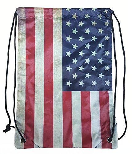 Drawstring Bag By Pier 17 American Flag Bag, Best String Bag For Travel And Gym. (Bag American Flag)