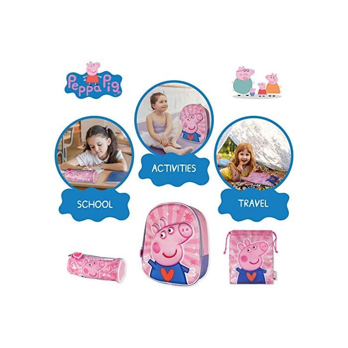 51A2B9Ah6TL 💗 PACK DE 3 PRODUCTOS ESCOLARES – Ideal para niños y niñas a partir de 3 años. Distintas medidas para diferentes usos a lo largo del día. Mochila escolar con tirantes: 26 x 31 x 10 cm. Bolsa de merienda: 26,5 x 21,5 cm. Estuche escolar: 21,5 x 7,5 x 7,5 cm. Material tela de poliéster resistente y ligero. Todos los productos son fáciles de usar para los niños 💗 MOCHILA ESCOLAR INFANTIL – Parte frontal de la mochila con diseño en 3D de Peppa Pig creando divertidos detalles e impactantes efectos de color. El tamaño es idóneo para niños de 3 a 6 años, para usar en el colegio o actividades extraescolares. Las tiras pueden regularse y ajustarse según la altura del niño 💗 BOLSA PARA MERIENDA – Con cierre de cuerdas a los lados. En color rosa de Peppa Pig. Esta mochila infantil es ideal para meter el almuerzo o merienda de los niños, también se puede usar en parvulario o para guardar juguetes. Su diseño de cuerdas permite que los niños puedan abrir y cerrar la mochila ellos solos