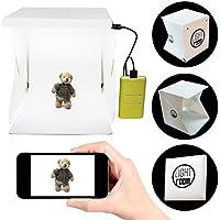 Portable Photography Studio 9 Inch - Mini Photo Studio Lightbox Product Photography Kit w/ LED Lights + Black & White Backdrop + 3ft USB Cord (Photo Box Light Tent)