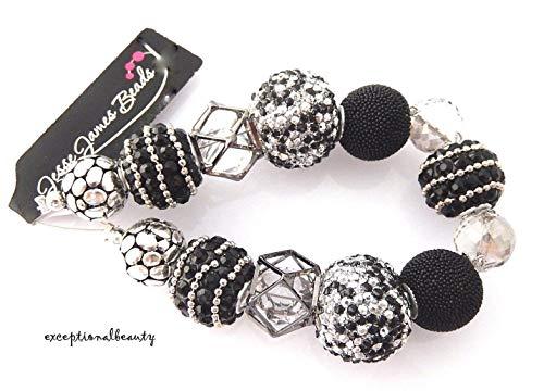 MIDNIGHT Black Silver Jesse James Assorted Mix Designer Focal Beads -