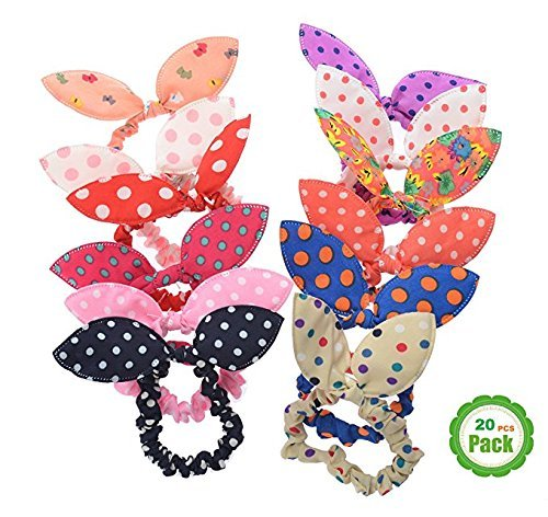 Korean Tie (Vintga Cute Rabbit Ear Hair Tie Ponytail Holder Ropes Bands Accessories for Girls Teens (20Pcs Rabbit Ear))