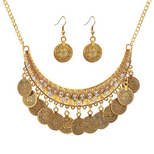 CHOA Ethnic Carved Coin Necklace&Earrings,Vintage Gypsy Indian Jewelry Set for Women (Gold)