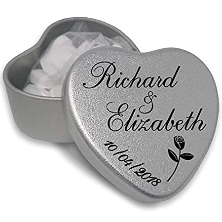 1 Luxury Personalised Heart Shaped Wedding Favour makes the Perfect Party Gift Memento Keepsake. Tins are filled with Mints, Chocolates, or Sweets. 51A2Ben7CFL