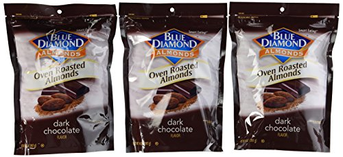 Blue Diamond Oven Roasted Almonds, Dark Chocolate, 14 OZ Resealable Bags - Pack Of 3