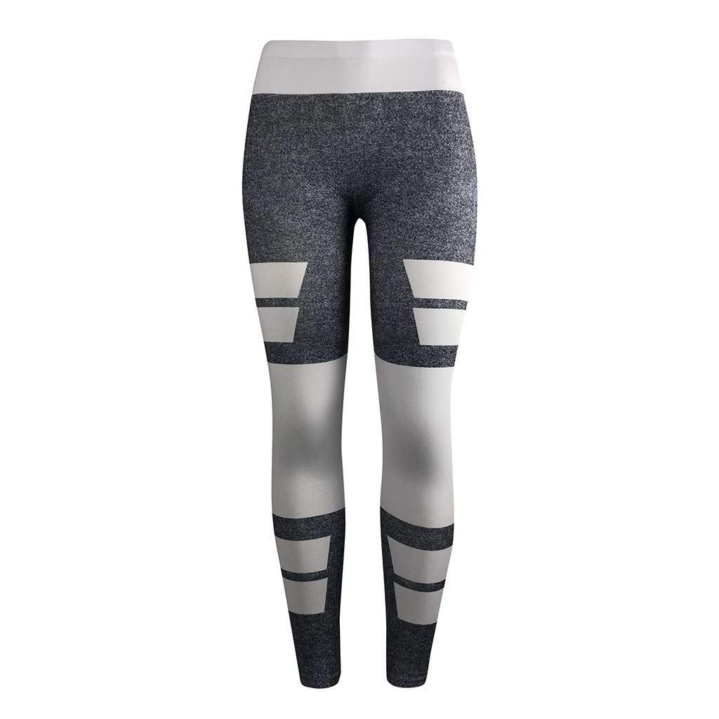 Outique Women's Yoga Digital Printing High Waist Casual Running Tummy Control Sports Leggings Trouser Pants Gray