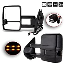 SCITOO Tow Mirrors for 07-14 Chevy GMC Towing Door Side Mirrors Power Heated Led Smoke Signal Lamps Pair