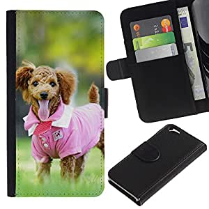 KingStore / Leather Etui en cuir / Apple Iphone 6 / Rosa lindo del perro de caniche