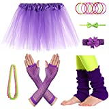 old 80s - JustinCostume Girls' 80's Accessories Headwear Skirt Leg Warmers Gloves Purple A