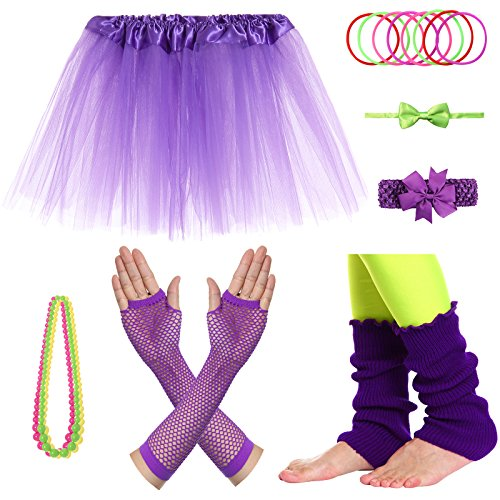 JustinCostume Girls' 80's Accessories Headwear Skirt Leg Warmers Gloves Purple A