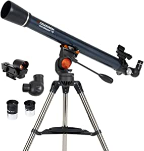 Celestron - AstroMaster 70AZ Telescope - Refractor Telescope - Fully Coated Glass Optics - Adjustable Height Tripod – BONUS Astronomy Software Package