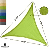 LyShade 9'10'' x 9'10'' x 9'10'' Triangle Sun Shade Sail Canopy (Lime Green) - UV Block for Patio and Outdoor