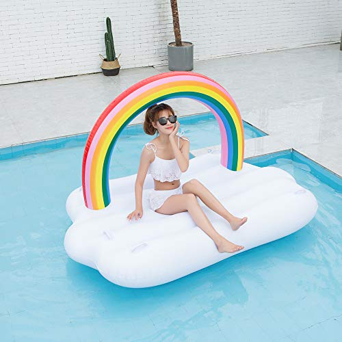 TechCode Inflatable Pool Float, Multi-Purpose Summer Inflatable Bad Portable Pool Float Mattress Sunbathe Comfort Lounge Bad Beach Mat Water Party Inflatable Float Holiday Toy,83x57x53 inch by TechCode (Image #6)