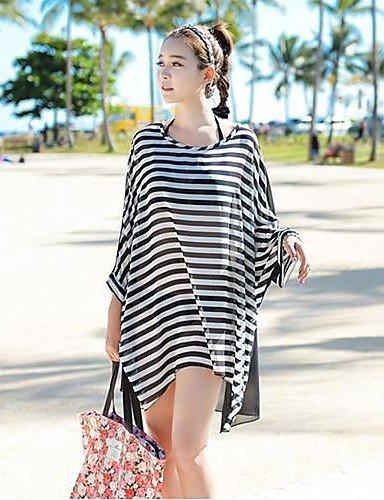 skt-swimwear der Frauen Rundhalsausschnitt Chiffon Gestreift Oversized mit Fledermausärmeln Fashion Bikini Cover Up