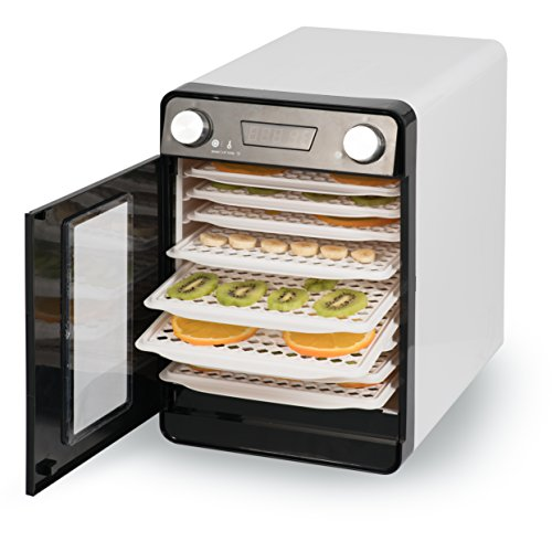 Della 9 Tray Commercial Food Fruit Jerky Dryer Drying Racks Temperature Settings and Timer Blower Dehydrator, White (Thermostatically Controlled Blower)