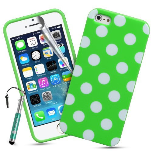 Madcase Apple iPhone SE / 5S / 5 Silikon Schutzhülle Handy Tasche TPU Gel Case Hülle Schale Mit Retro Punkten - Grün