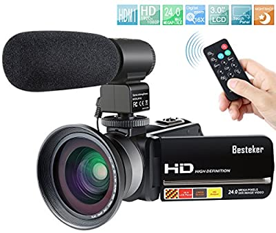 Camcorder,Besteker 1080P IR Night Vision Camcorders Full HD Portable Digital Video Camera with External Microphone and Wide Angle Lens from Besteker
