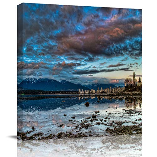 Canvas Print Wall Art Bog Dark Clouds and Distant City Stretched and Framed Modern Giclee Artwork for Office/Livingroom/Bedroom/Hallway 28x28in]()