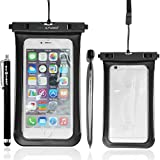 Eco-Fused Premium Universal Waterproof Carrying Case for Smartphones – Fits Iphone 6S Plus, 6 Plus, 6S, 6, 5S, 5, Samsung Galaxy Note 4, 3 , S6, S6 edge, S5, S4 - Clear Side Windows, for Easy Access (Black with Side Windows)