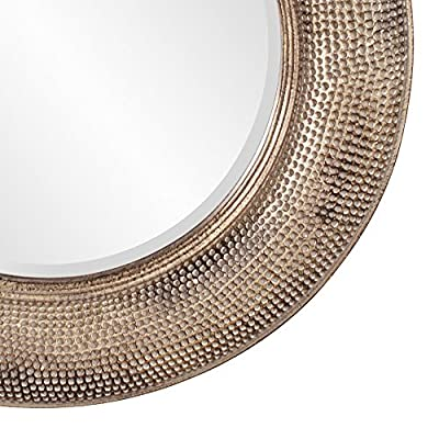 Howard Elliott 43108 Raymus Hammered Round Mirror - Features a hammered texture finish Finished in a warm silver leaf with gold accents Dimensions: 36-inch diameter by 2-inch - bathroom-mirrors, bathroom-accessories, bathroom - 51A2CyaVI1L. SS400  -