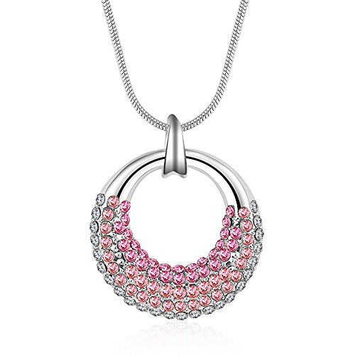 Winter's Secret Pink Like Moon Shape Circle Pendant Diamond Accented 18K Silver Crystal Women (Big Daddy Purple Pet Costumes)