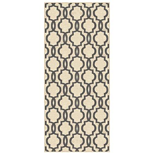 (Kapaqua Custom Size Ivory Moroccan Trellis Rubber Backed Non-Slip Hallway Stair Runner Rug 31in X 12ft)