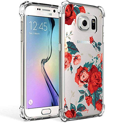 Galaxy S7 Case Clear with Rose Flower Design for Girls Women Shockproof Bumper Protective Cases for Samsung Galaxy S7 Red Floral Pattern Print Covers Drop Protection Flexible Rubber Soft Slim Fit Skin (Red Skin Clear Case Phone)