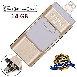 USB Flash Drives for iPhone 64 GB Pen-Drive Memory Storage, G-TING Jump Drive Lightning Memory Stick External Storage, Memory Expansion for Apple IOS Android Computers (Gold)