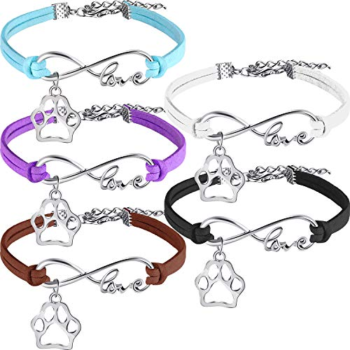 15 Pack Puppy Paw Print Paw Bracelets for Kids Adult Adjustable Charm Bangle Bracelets Puppy Dog Cat Animal Themed Party Favors
