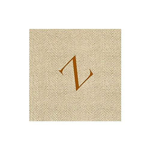 Caspari Natural Jute Paper Linen Boxed Cocktail Napkins in Letter Z - Pack of 30
