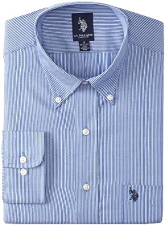U.S. Polo Assn. Men's Mini Stripe Dress Shirt, Sea Blue, 15-15.5/32-33