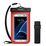 Universal Waterproof Phone Case, MoKo Multifunction CellPhone Dry Bag Pouch with Armband Feature & Neck Strap for iPhone 7/7 Plus, 6/6S/6S Plus, SE, Galaxy S8/S8 Plus, S7/S6 Edge, BLU, MOTO - RED