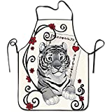 Timedallas Fierce Tiger Poker Lock Edge Waterproof Adjustable Men Women Durable Apron Kitchen Cooking Commercial Restaurant Chef Apron