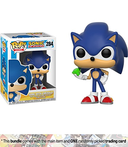 Sonic w/ Emerald: Funko POP! Games x Sonic the Hedgehog Vinyl Figure + 1 Video Games Themed Trading Card Bundle [#284] (Pop Cat Super)