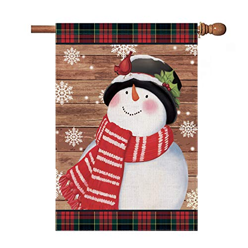 Hexagram Snowman Christmas Flags 28 x 40 Double Sided,Seasonal Snowman House Flag,Winter Primitive Buffalo Plaid Snowman with Cardinals Holiday Burlap Outdoor Christmas Decoration