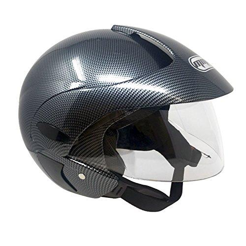 Motorcycle Scooter Open Face Helmet DOT Street Legal - Flip Up Shield - Gray Carbon (MEDIUM)
