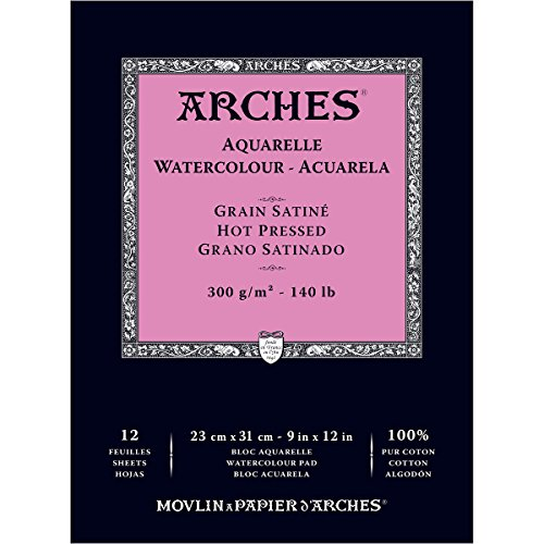 Arches Watercolor Paper Pad, 140 pound, Hot Press, 9 by 12