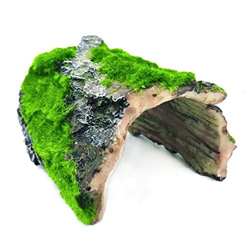 Tfwadmx Betta Log Aquarium Fish Hideout Shelter, Betta Cave Hollow Tree Trunk Resin Ornament Moss House Decorations for Small and Medium Fish Tank Landscape Decor