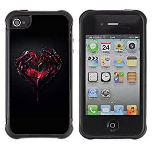 ZeTech Rugged Armor Protection Case Cover - Goth Dark Heart & Blood - Apple Iphone 4 / 4S