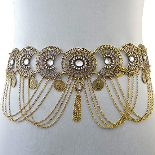 - Idealway Vintage Silver/Bronze Waist Chian Hollow Out Carving Rhinestone Crystal Body Chain Summer Beach Body Waist Chain Jewelry (Brown)
