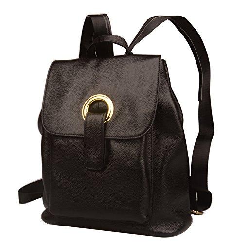 School Black Fiswiss Backpack Purse Leather Handbags Backpack Genuine Women's wwI7BTSq