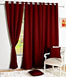 Story@Home Blackout Faux Silk Superior 1 Piece Plain Solid Window Curtain, 5 feet, Maroon
