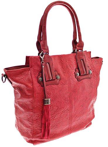 Damen Handtasche Sommertasche Tasche Damen Tasche Handtasche Tragetasche Schultertasche Weekender (Blue) Red 0asZlx8f