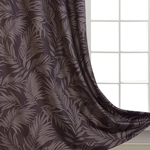 Velvet Curtains Leaves Print Window Treatment for Bedroom Vintage Palm Floral Luxury Velvet for Living Room Thick and Soft Grommet Top 54 inch Wide by 63 inch Long 2 Panels Grey Drapes by GD