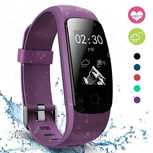 Fitness Tracker, moreFit Slim Touch HR Heart Rate Waterproof Activity Tracker Wireless Bluetooth Smart Bracelet Watch Sleep Monitor Pedometer, Purple