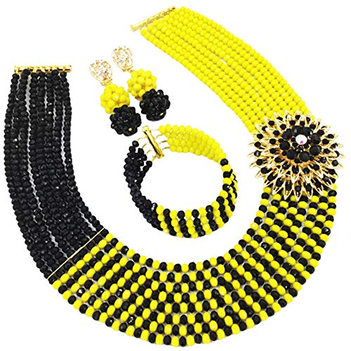 aczuv 8 Rows African Bead Necklace Jewelry Set for Women Nigerian Wedding Bridal Jewelry Sets (Opaque Yellow Black)