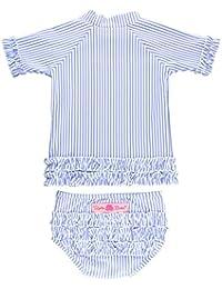 RuffleButts Little Girls 2-Piece Swimsuit Set - Blue Seersucker Rash Guard Bikini with UPF 50+ Sun Protection - 2T