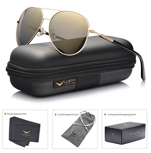 LUENX Aviator Sunglasses Women Men Polarized Mirrored Gold Lens Gold Metal Frame Large 60mm