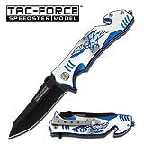 4.5″ Closed, Eagle Strike Rescue Folding Knife Blue/silver
