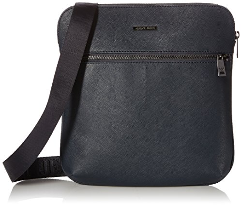 Armani Exchange Men's Safiano Embossed Pu Mini Ipad Crossbody Bag, Blue by A|X Armani Exchange